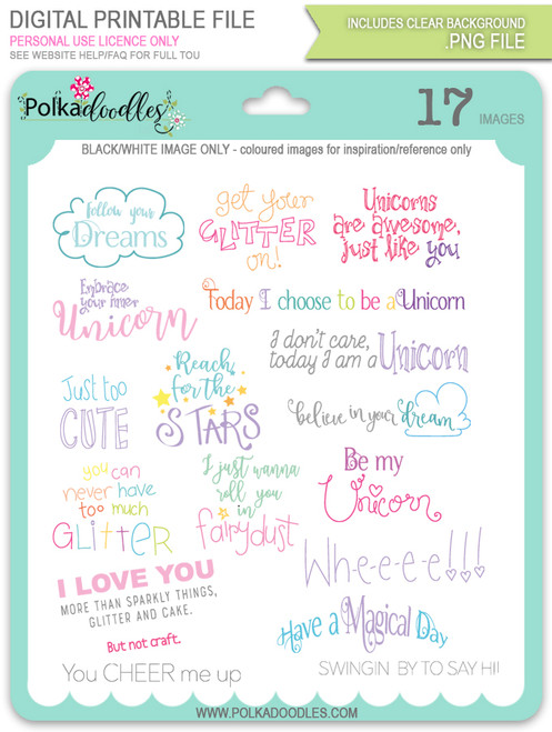 Colour Sentiments - Sparkle Unicorn digital download bundle