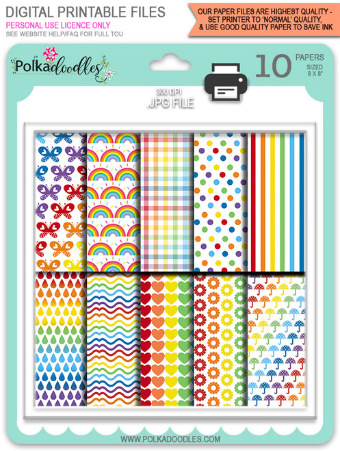 Rainbow Paper printable digital download bundle