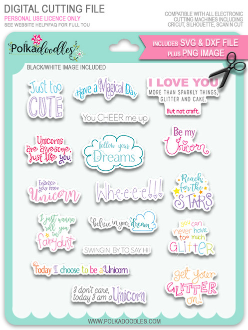 Sentiments SVG/DXF Cutting Files - Sparkle Unicorn digital download bundle