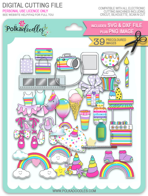 Accessories SVG/DXF Cutting Files - Sparkle Unicorn digital download bundle
