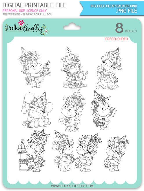 Sparkle Unicorn Set A digital Stamps black/white - digital download bundle