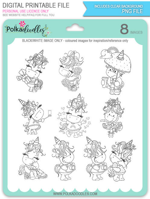Sparkle Unicorn Set B digital Stamps black/white - digital download bundle