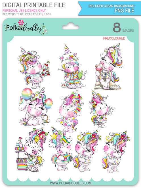 Sparkle Unicorn Set A digital Stamps COLOUR - digital download bundle