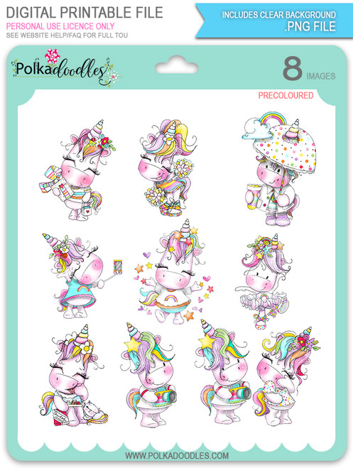 Sparkle Unicorn Set B digital Stamps COLOUR - digital download bundle