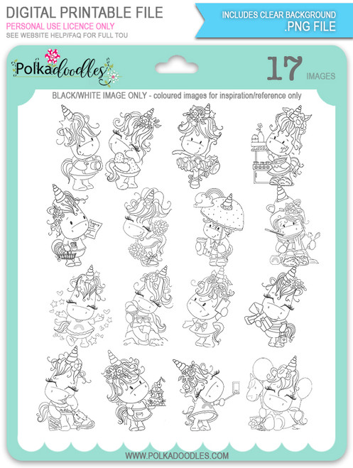 Sparkle Unicorn digital Stamps black/white - digital download bundl