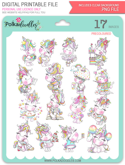 Sparkle Unicorn digital Stamps COLOUR - digital download bundle