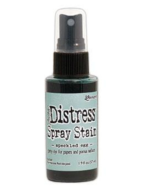 Speckled Egg Distress Stain Spray ink - Tim Holtz.  Spray directly on porous surfaces for quick, easy ink coverage. Mist with water to blend color and create mottled effects. Spray through stencils, layer colors, spritz with water and watch the color mix & blend. Spray Stains coordinate with the Distress palette of products.