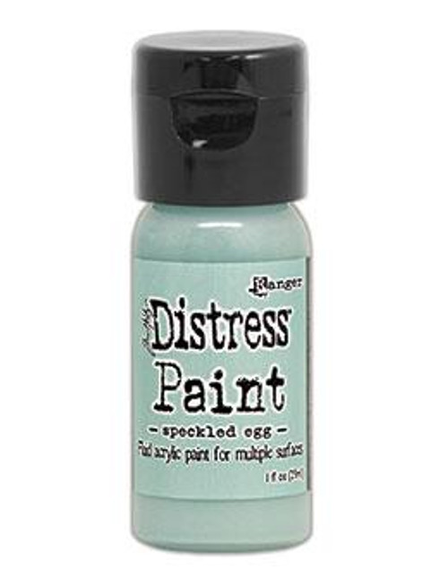 Speckled Egg Distress Paint - Tim Holtz. Convenient Flip tops are great for quick and easy application of Distress Paint with brushes, blending tools, splatter brush and more! With a timeless matte finish, Distress Paints are very fluid water-based acrylic paints for use on multiple surfaces. Developed to be reactive with water, like other products in the Distress family, Distress Paints are the perfect choice to accomplish a wide variety of artistic techniques. Use with stamps, paper, wood, metal, glass, plastic and more!