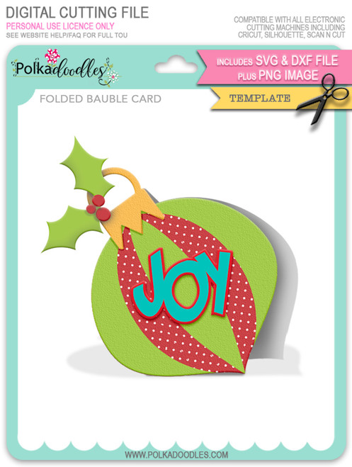 Folded Joy Bauble Card Template - SVG/DXF Cutting Files digital download