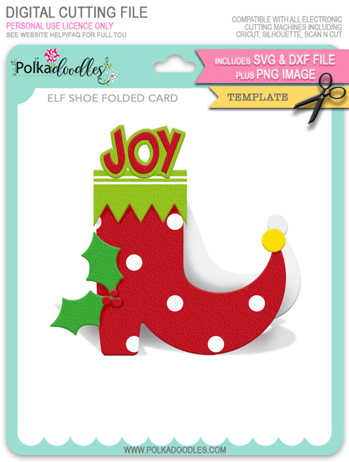 Elf Shoe Folded Card Template - SVG/DXF Cutting Files digital download