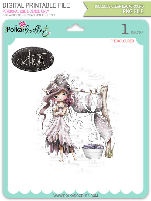 Octavia Moonfly Washing Day - precoloured Digital Stamp Craft Download