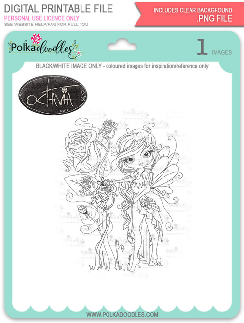Octavia Moonfly Rose Garden - Digital Stamp Craft Download