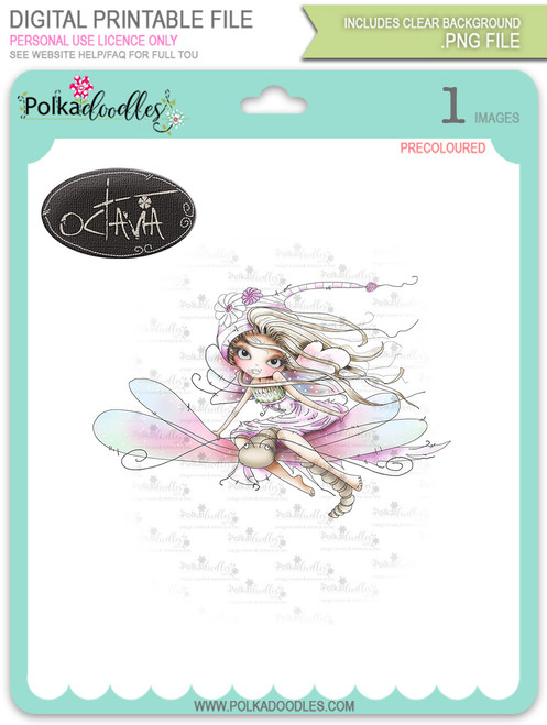 Octavia Moonfly Dragonfly - precoloured Digital Stamp Craft Download