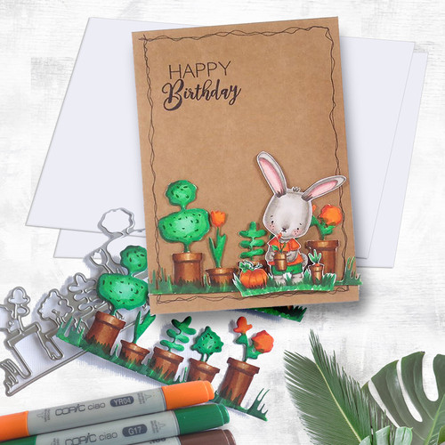 Gil Rabbit Gardening - Precoloured digi stamp/with SVG/DXF Cutting File