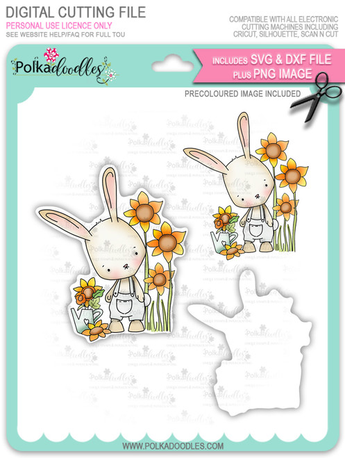 Gil Rabbit with Sunflowers - Precoloured digi stamp/with SVG/DXF Cutting File