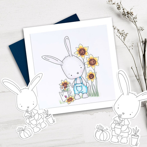 Gil Rabbit Growing Sunflowers - Precoloured digi stamp/with SVG/DXF Cutting File