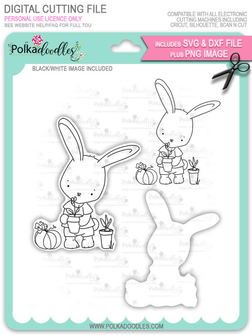 Gil Rabbit Gardening - digi stamp/with SVG/DXF Cutting File