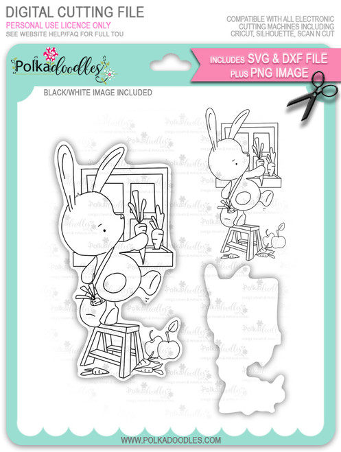 Gil Rabbit Carrot Picking - digi stamp/with SVG/DXF Cutting File