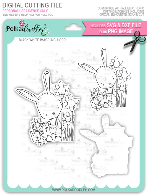 Gil Rabbit with Sunflowers - digi stamp/with SVG/DXF Cutting File