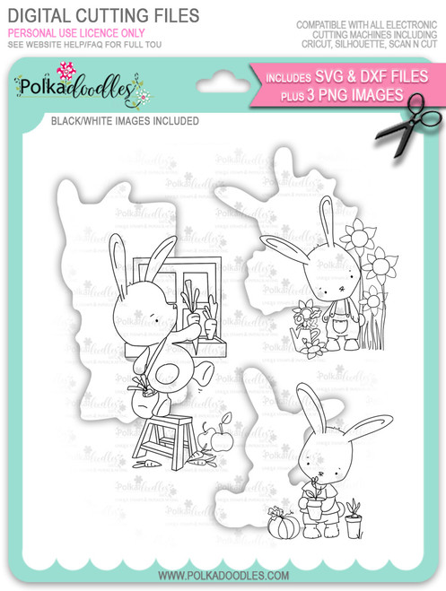 Gil Rabbit - Bundle of digi stamps with SVG/DXF Cutting Files