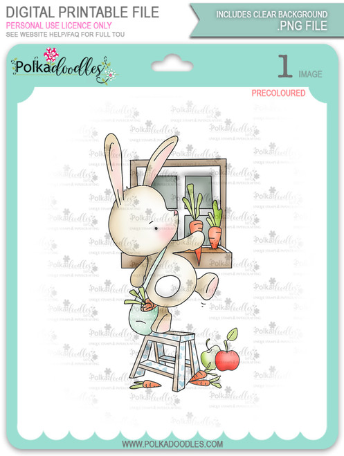 Gil Rabbit Carrot Picking - Precoloured digi stamp