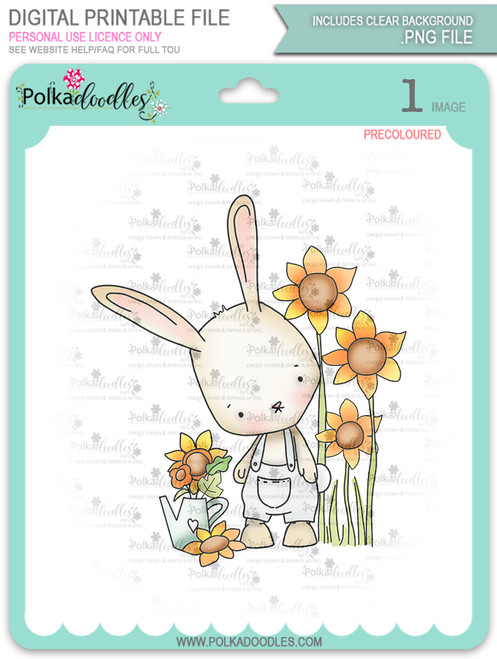 Gil Rabbit Growing Sunflowers - Precoloured digi stamp