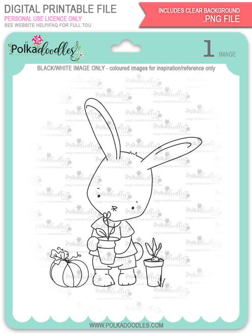 Gil Rabbit Gardening - digi stamp
