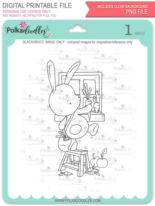 Gil Rabbit Carrot Picking - digi stamp