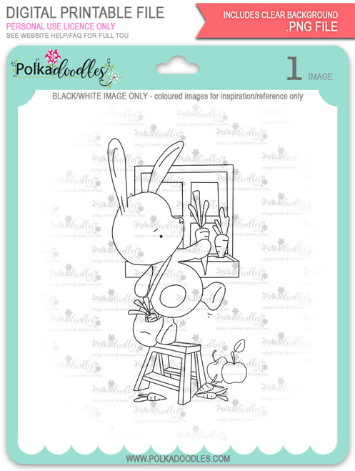 Gil Rabbit Carrot Picking - digi stamp