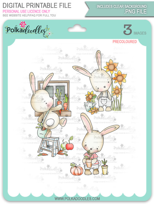 Gil Rabbit precoloured digi stamp bundle