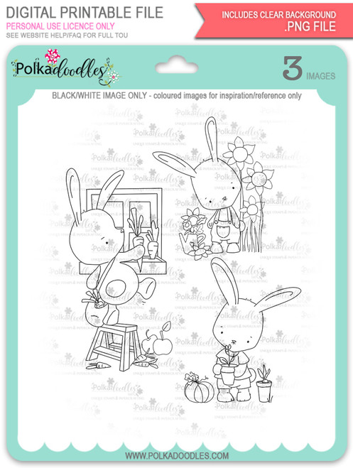 Gil Rabbit digi stamps bundle