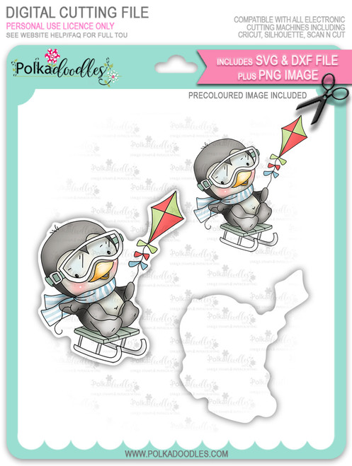 Waddy Penguin with Snowkite - Precoloured digi stamp/with SVG/DXF Cutting File