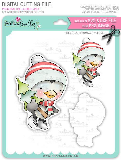 Waddy Penguin with Christmas Tree - Precoloured digi stamp/with SVG/DXF Cutting File