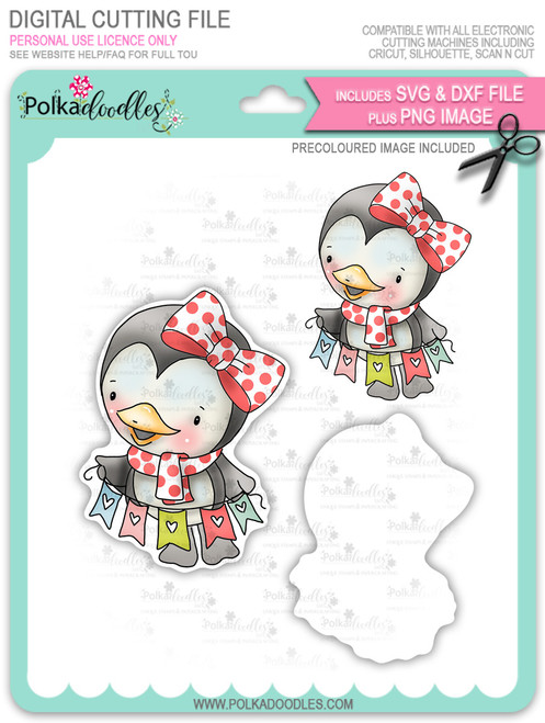 Wanda Penguin Hanging Bunting - Precoloured digi stamp/with SVG/DXF Cutting File