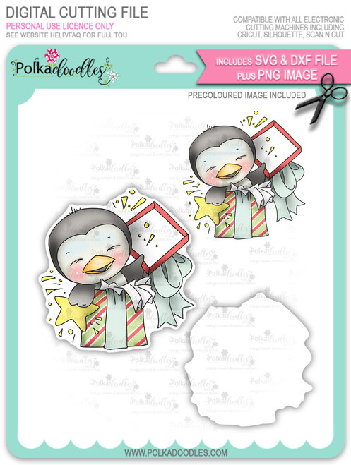 Wanda Penguin Surprise! - Precoloured digi stamp/with SVG/DXF Cutting File