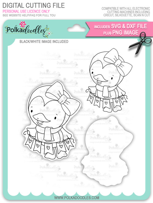 Wanda Penguin Hanging Bunting - digi stamp/with SVG/DXF Cutting File