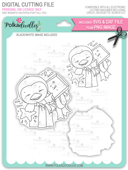 Wanda Penguin Surprise! - digi stamp/with SVG/DXF Cutting File