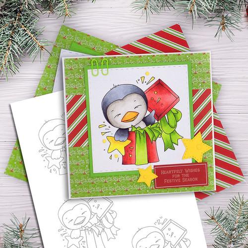 Wanda Penguin Surprise! - digi stamp/with SVG/DXF Cutting File
