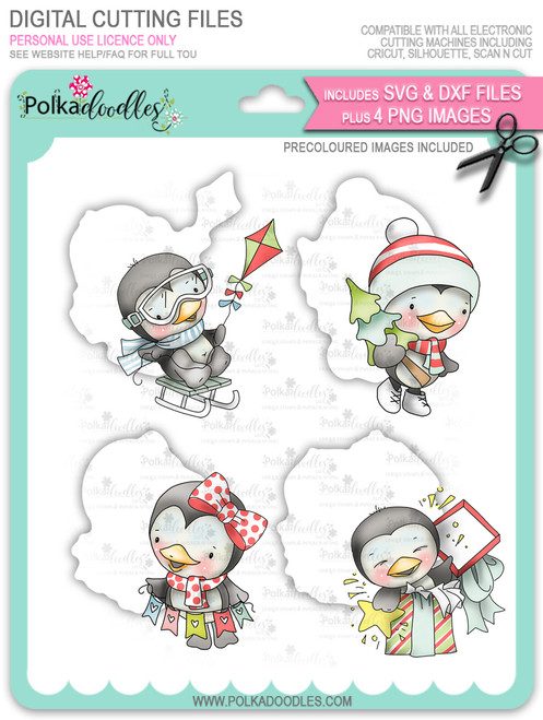 Waddy and Wanda Penguin - Bundle of Precoloured digi stamps/with SVG/DXF Cutting Files