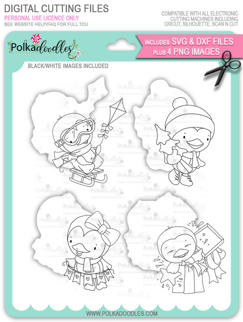 Waddy and Wanda Penguin - Bundle of digi stamps/with SVG/DXF Cutting Files