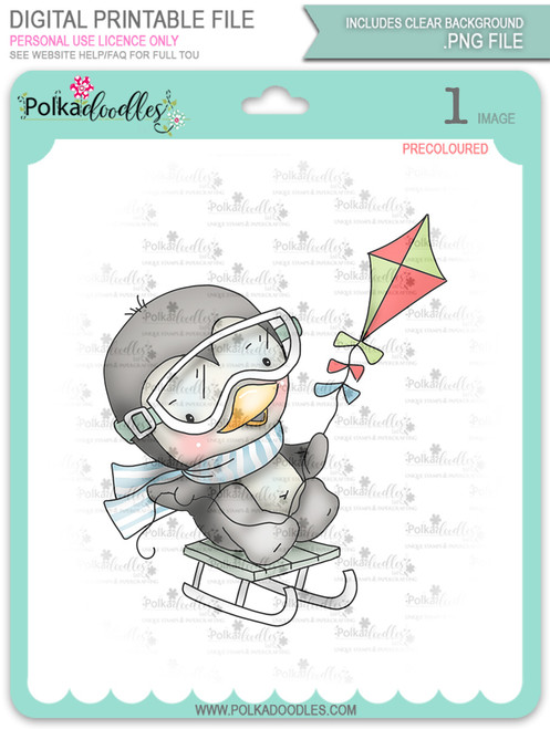 Waddy Penguin with Snowkite - Precoloured digi stamp