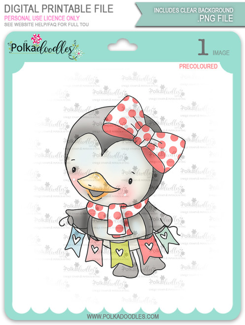 Wanda Penguin Hanging Bunting - Precoloured digi stamp