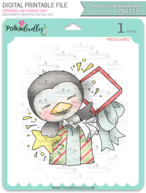 Wanda Penguin Surprise! - Precoloured digi stamp