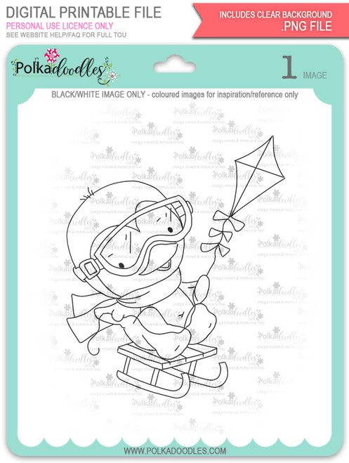Waddy Penguin with Snowkite - digi stamp