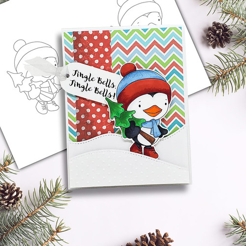 Waddy Penguin with Christmas Tree digi stamp