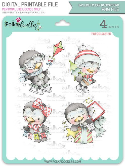 Waddy and Wanda Penguin - Bundle of Precoloured digi stamps