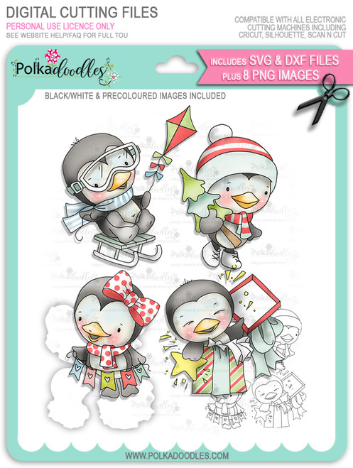 Waddy and Wanda Penguin - Big Bundle of digi stamps/with SVG/DXF Cutting Files