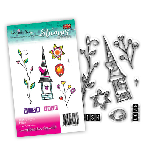 WISHING WELL WISHES - 8 clear stamps