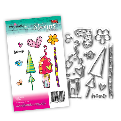 Home Grown Toadstool House - 9 clear stamps