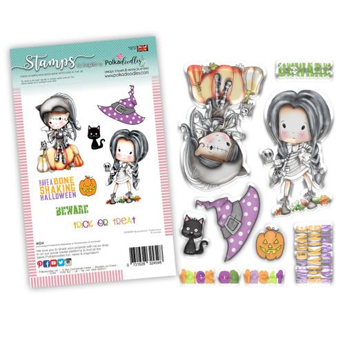 Boneshakin Halloween Winnie Wednesday clear stamp set